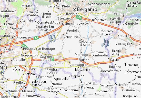 Karte Stadtplan Brignano Gera d'Adda