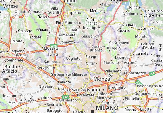 Karte Stadtplan Seveso
