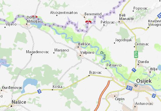 Kaart Plattegrond Valpovo