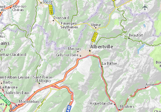 Carte d taill e gilly sur is re plan gilly sur is re for Piscine gilly sur isere