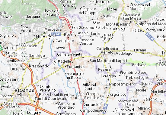 Cartina Geografica Bassano Del Grappa.Mappa Michelin Galliera Veneta Pinatina Di Galliera Veneta Viamichelin