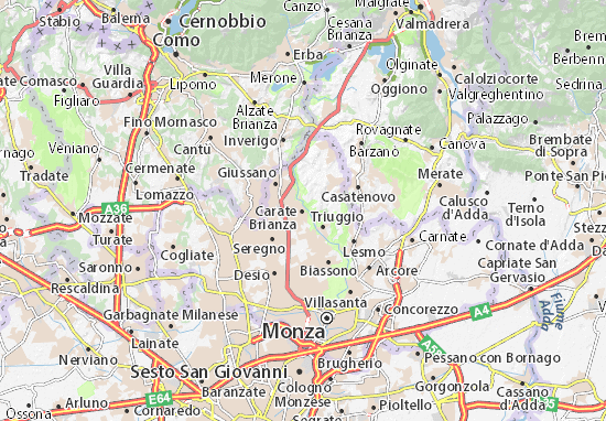 Karte Stadtplan Carate Brianza