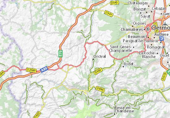 Carte détaillée Rochefort-Montagne - plan Rochefort-Montagne - ViaMichelin