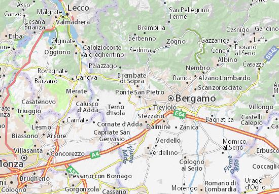 Karte Stadtplan Ponte San Pietro