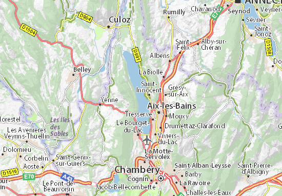 Map of lac du bourget michelin lac du bourget map viamichelin - Meteo bourget du lac ...