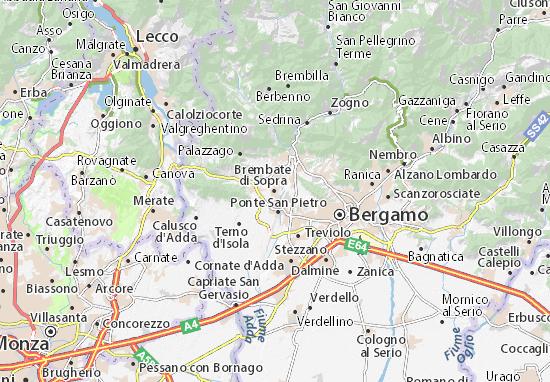 Karte Stadtplan Brembate di Sopra