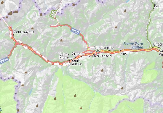 Karte Stadtplan Gressan