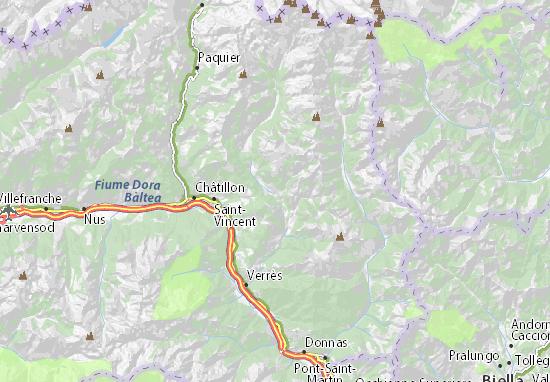 Valle D Aosta Cartina Geografica Politica.Mappa Michelin Brusson Pinatina Di Brusson Viamichelin