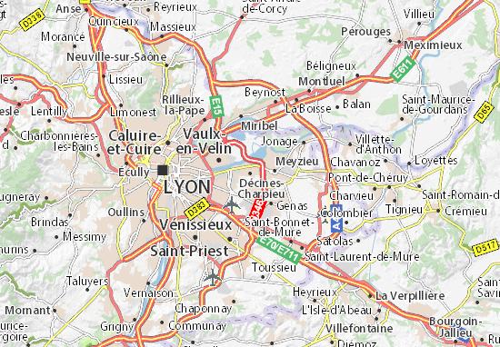 Kaart Plattegrond Décines-Charpieu