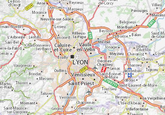 Kaart Plattegrond Villeurbanne