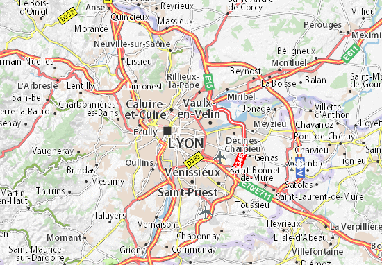 Karte Stadtplan Villeurbanne