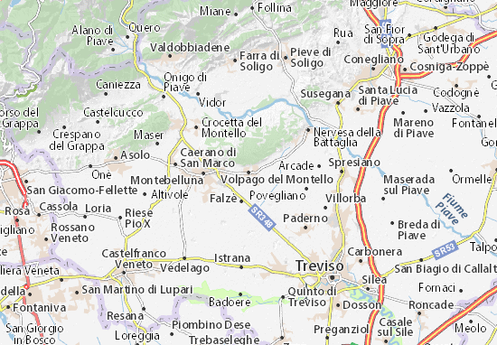 Kaart Plattegrond Volpago del Montello