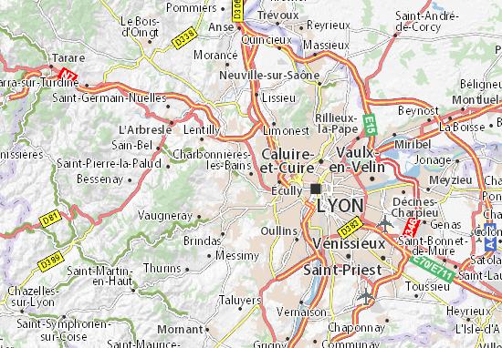 Kaart Plattegrond Charbonnières-les-Bains