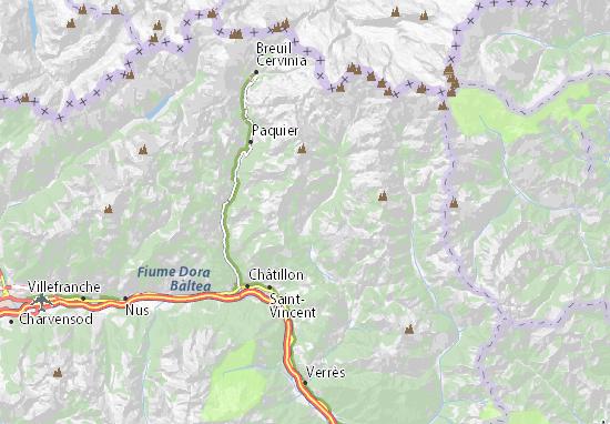 Cartina Valle D Aosta Dettagliata.Mappa Michelin Ayas Pinatina Di Ayas Viamichelin