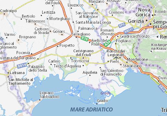 Karte Stadtplan Cervignano del Friuli