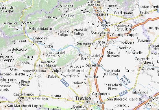 Kaart Plattegrond Nervesa della Battaglia