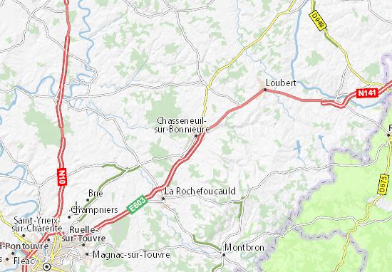 Kaart Plattegrond Chasseneuil-sur-Bonnieure