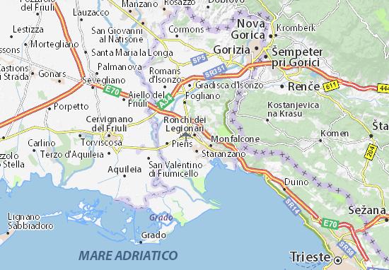Karte Stadtplan Ronchi dei Legionari