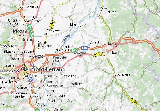 Kaart Plattegrond Lezoux