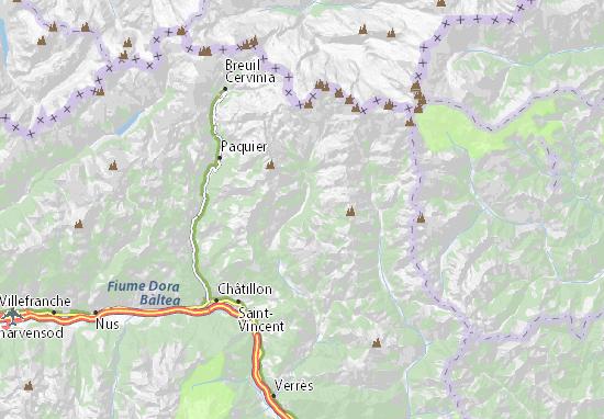 Cartina Valle D Aosta Stradale.Mappa Michelin Champoluc Pinatina Di Champoluc Viamichelin