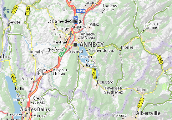 map of lac d 39 annecy michelin lac d 39 annecy map viamichelin. Black Bedroom Furniture Sets. Home Design Ideas