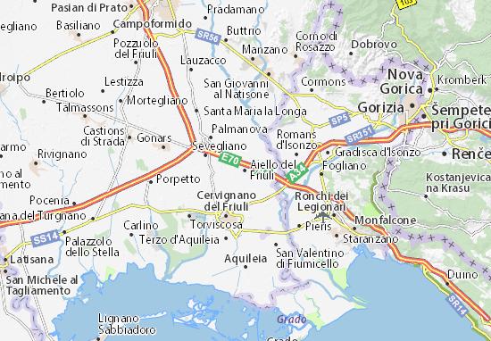 Karte Stadtplan Aiello del Friuli