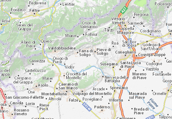 Karte Stadtplan Sernaglia della Battaglia