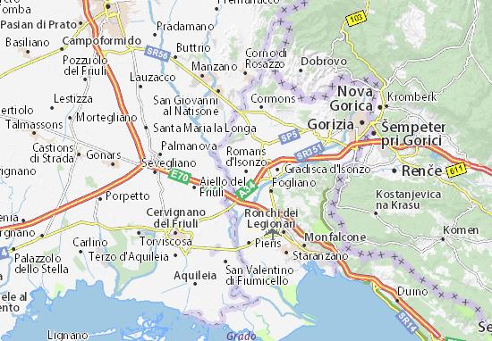 Karte Stadtplan Romans d'Isonzo