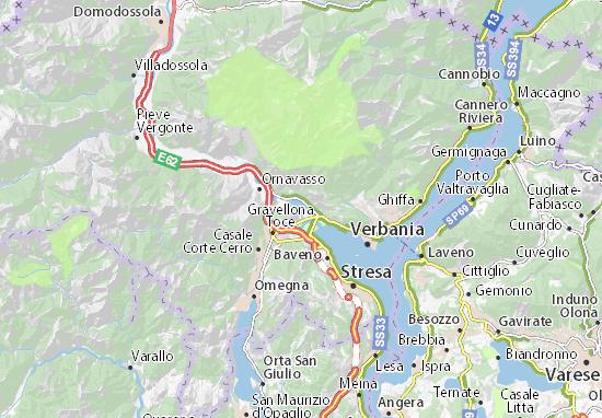 Lago Maggiore Cartina Stradale.Mappa Michelin Lago Di Mergozzo Pinatina Di Lago Di Mergozzo Viamichelin