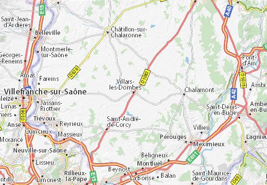 Karte Stadtplan Villars-les-Dombes