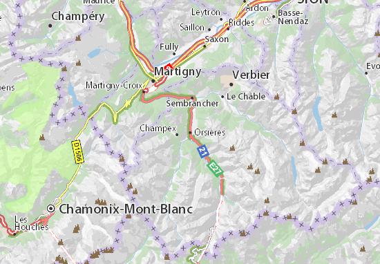 Karte Stadtplan Orsières
