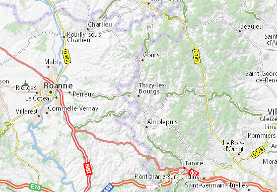 Kaart Plattegrond Thizy-les-Bourgs