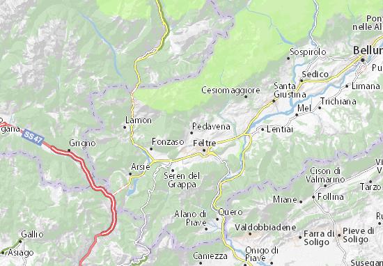 Karte Stadtplan Pedavena