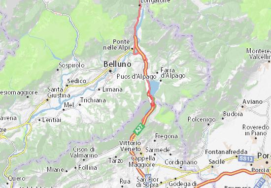 Cartina Veneto Michelin.Michelin Nevegal Map Viamichelin