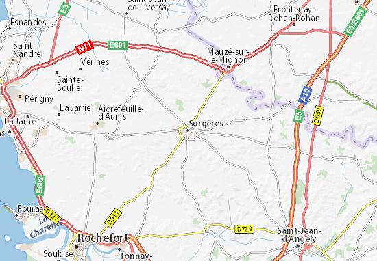 Kaart Plattegrond Surgères