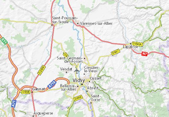 Kaart Plattegrond Saint-Germain-des-Fossés