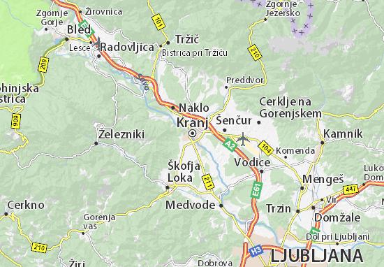 Karte Stadtplan Kranj