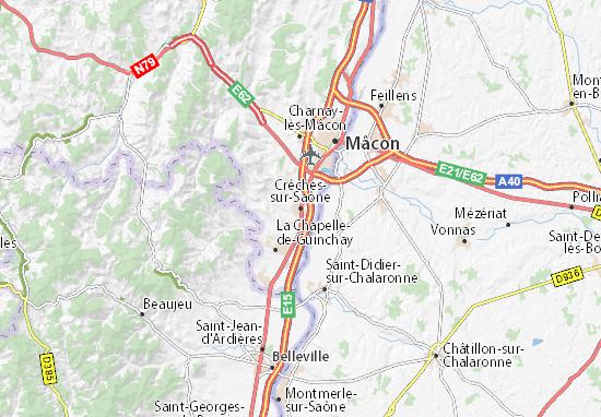 Carte-Plan Crêches-sur-Saône