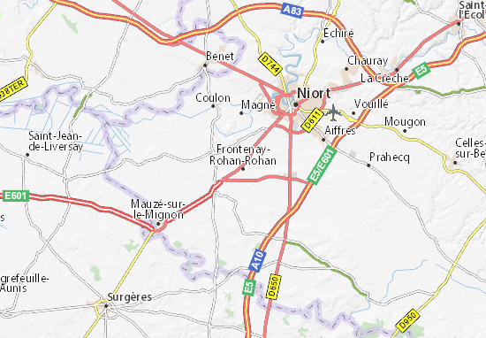 Carte-Plan Frontenay-Rohan-Rohan