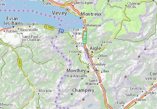 Kaart Plattegrond Vionnaz