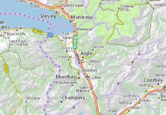 Kaart Plattegrond Aigle