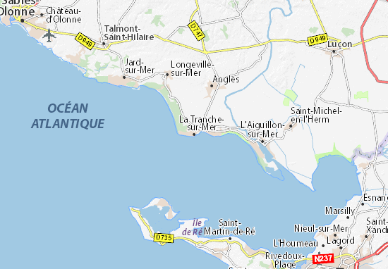 map of la tranche sur mer michelin la tranche sur mer. Black Bedroom Furniture Sets. Home Design Ideas