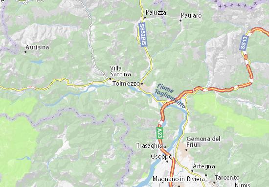 Karte Stadtplan Verzegnis