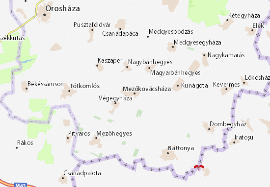Kaart Plattegrond Mezőkovácsháza