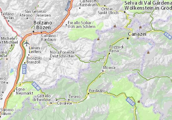 Bolzano Cartina.Mappa Carezza Al Lago Cartina Carezza Al Lago Viamichelin