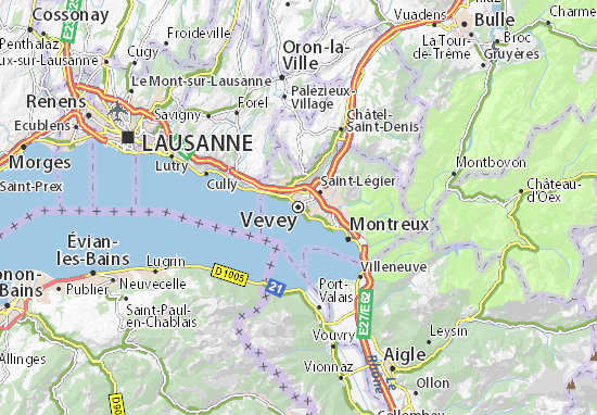 Vevey Map Detailed Maps For The City Of Vevey ViaMichelin - Lausanne city map