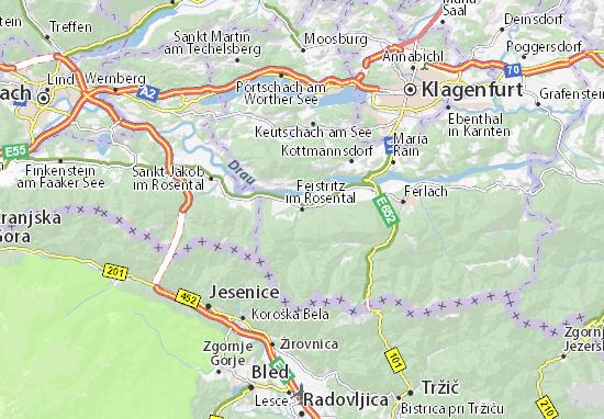 Karte Stadtplan Feistritz im Rosental
