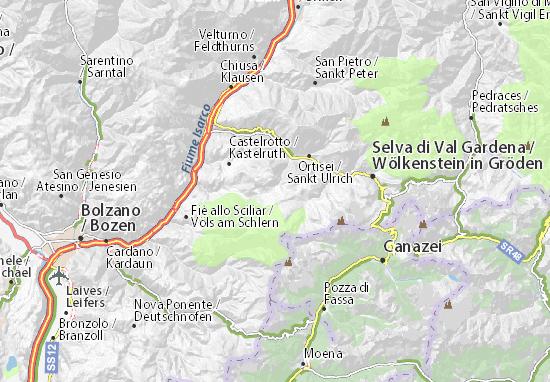 Cartina Geografica Vipiteno E Dintorni.Mappa Michelin Alpe Di Siusi Pinatina Di Alpe Di Siusi Viamichelin