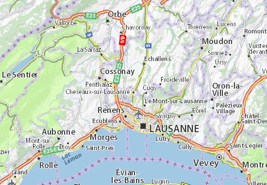 Karte Stadtplan Cheseaux-sur-Lausanne