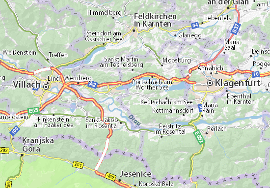 Mapa Plano Schiefling am Wörthersee